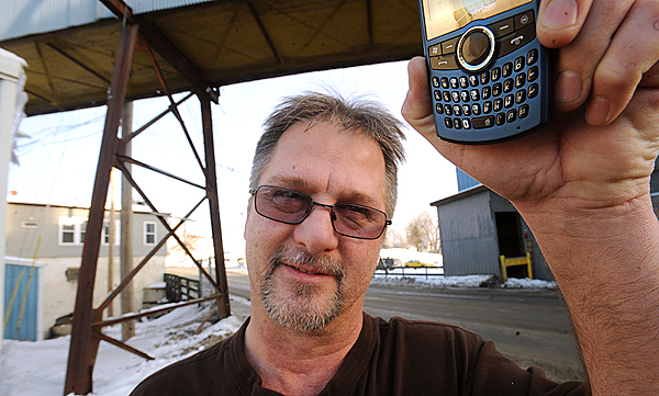 Chuck Hojohn facilities and purchasing manager at Prime Tanning USA in Hartland said that until recently cell phones were pretty much useless in town.  &quotNot only residents but businesses benefited from this as well.  Some of the people who work here could not leave their desk because they would have been unreachable while out in the mill.&quot Hojohn said.  A new cell phone tower provides very good reception in the Hartland area that was previously a complete &quotdead zone&quot. BANGOR DAILY NEWS PHOTO BY GABOR DEGRE
