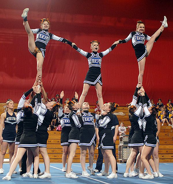 The Sumner Tigers hit a pyramid in the Class C Regional Cheerleading Competition on Saturday at the Bangor Auditorium where they took first place and will advance onto the State Championship. BANGOR DAILY NEWS PHOTO BY LINDA COAN O'KRESIK