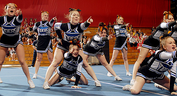 The Sumner Tigers took first place in the Class C Regional Cheerleading Competition on Saturday at the Bangor Auditorium and will advance onto the State Championship. BANGOR DAILY NEWS PHOTO BY LINDA COAN O'KRESIK