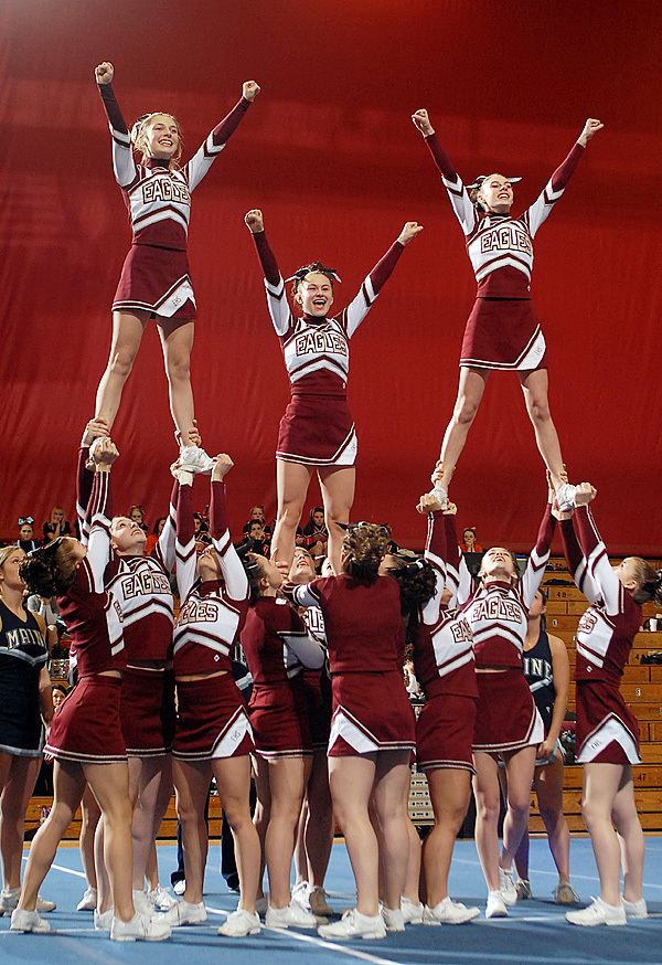 TheEllsworth Eagles placed second in the Regional Cheerleading Competition on Saturday with a total of 136.9 points and will advance onto the State Championship. BANGOR DAILY NEWS PHOTO BY LINDA COAN O'KRESIK