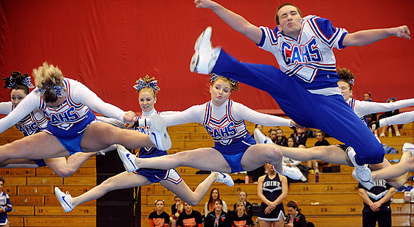 The Central Aroostook High School cheering squad performs during the Class D Eastern Maine Cheering Championships at the Bangor Auditorium Saturday.  They finished in first place. BANGOR DAILY NEWS PHOTO BY GABOR DEGRE