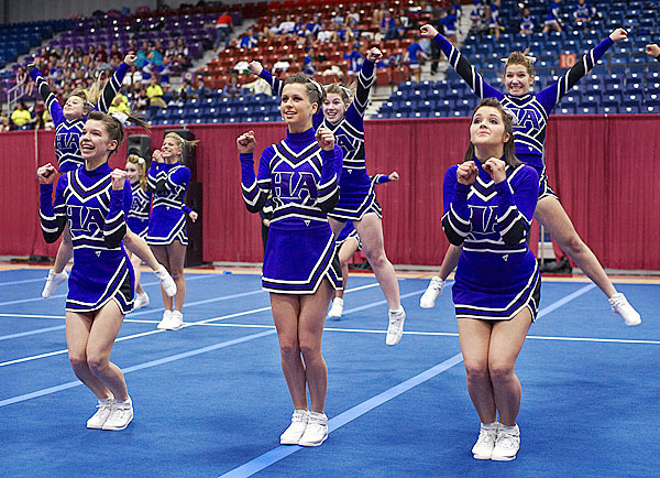 Hampden Academy's cheering personnel perform at the Augusta Civic Center, Saturday, Jan. 23, 2010. BANGOR DAILY NEWS PHOTO BY MICHAEL C. YORK