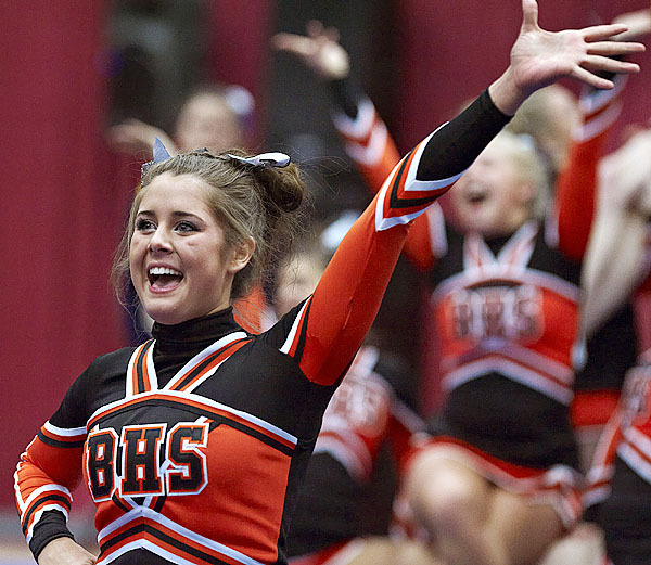 Brewer's Mikayla Love and her fellow cheering personnel compete in the Eastern Maine class A competition at the Augusta Civic Center, Augusta, Maine, Sat., Jan. 23, 2010. BANGOR DAILY NEWS PHOTO BY MICHAEL C. YORK