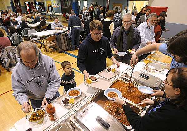 About 300 tickets were sold to the chilli cook-off fundraiser for the Salvation Army held at the Brewer Auditorium Saturday.  Nine curches from communities East of the Penobscot River organized that event that raised money for fuel assistance. BANGOR DAILY NEWS PHOTO BY GABOR DEGRE