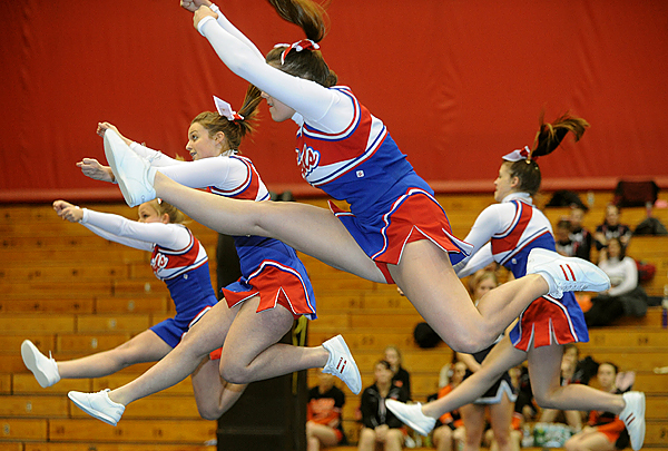 The Jonesport-Beals High School cheering squad performs during the Class D Eastern Maine Cheering Championships at the Bangor Auditorium Saturday. BANGOR DAILY NEWS PHOTO BY GABOR DEGRE