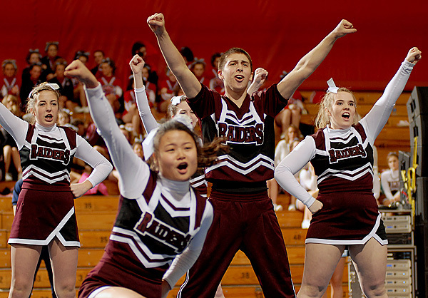 The Washington Academy Raiders placed third in the Class C Regional Cheerleading Competition on Saturday at the Bangor Auditorium and will advance onto the State Championship. BANGOR DAILY NEWS PHOTO BY LINDA COAN O'KRESIK