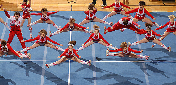 Dexter fininshed fifth in the Class C Regional Cheerleading Competition on Saturday at the Bangor Auditorium  and will advance onto the State Championship. BANGOR DAILY NEWS PHOTO BY LINDA COAN O'KRESIK