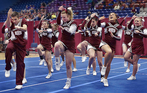 Bangor High School's cheering personnel perform during their exhibition at the Augusta Civic Center, Augusta, Saturday, Jan. 23, 2010. BANGOR DAILY NEWS PHOTO BY MICHAEL C. YORK