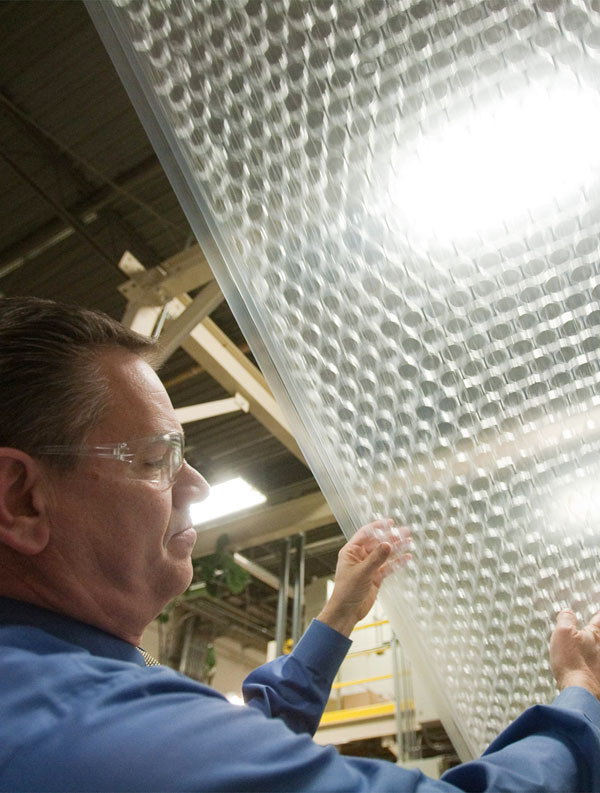 In this Jan. 19, 2010 photo, Sealed Air Business Manager-Air Cellular Products Rohn Shellenberger talks about Bubble Wrap at the company's plant in Saddle Brook, N.J. Sealed Air is celebrating the 50th anniversary of Bubble Wrap this month. (AP Photo/Christopher Barth)