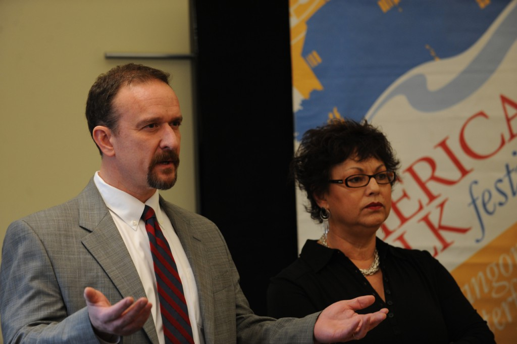 (BANGOR DAILY NEWS PHOTO BY KEVIN BENNETT)  CAPTION  American Folk Festival board member Rick Fornier, left, answers questions regarding the 2010 budget during a press conference on Tuesday, Jan. 26, 2010. With Fornier is board Chairwoman Maria Baeza. (Bangor Daily News/Kevin Bennett)