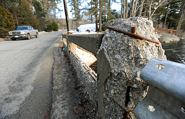 Traffic flows over this decaying bridge on Molyneaux Road in Camden on Wednesday, Jan. 28, 2010. BANGOR DAILY NEWS PHOTO BY KEVIN BENNETT