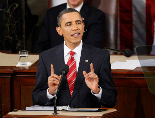 President Barack Obama gestures while delivering his State of the Union address on Captitol Hill in Washington, Wednesday, Jan. 27, 2010. (AP Photo/Charles Dharapak)