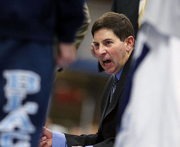 Maine coach Ted Woodward gives instructions to his team in a timeout in the second half of their game versus BU in Orono, Maine, WEd., Jan. 27, 2010.Bangor Daily NEws/Michael C. York