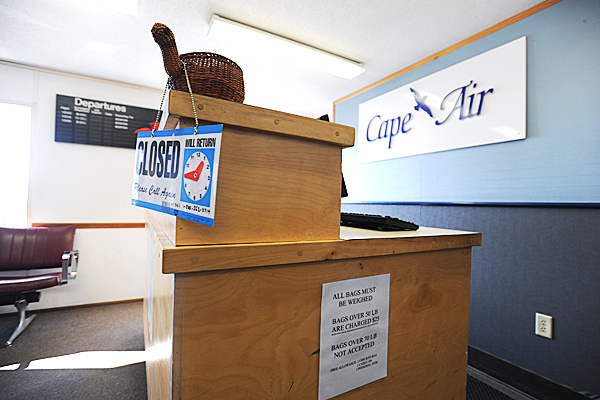 The current passenger terminal at Knox County Regional Airport,  as seen on Wedneday, Jan. 27, 2010 in Owls Head, supports only one airline, Cape Air, which now has three trips daily to Boston and five daily in the summer. The double-wide trailers that make up this terminal have frequent power outages and sewer backups.  The new $6 million terminal will be more spacious, allowing enough space for a cafe.   BANGOR DAILY NEWS PHOTO BY KEVIN BENNETT