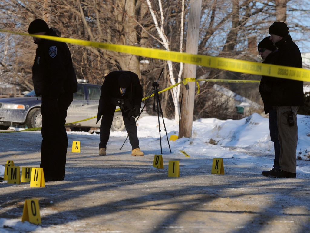 Orono Police and State Police investigate scene where the body of a young woman was found on Middle Street in Orono Saturday morning. (Bangor Daily News/Gabor Degre)
