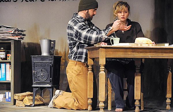 Thomas Piper (left) and Stephanie Dodd during rehearsal of Brilliant Traces at the Stonington Opera House. BANGOR DAILY NEWS PHOTO BY GABOR DEGRE