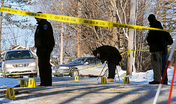 Orono and state police investigate the scene on Middle Street in Orono where they body of Jordyn Bakley, 20 of Camden was found on Saturday morning.  BANGOR DAILY NEWS PHOTO BY GABOR DEGRE