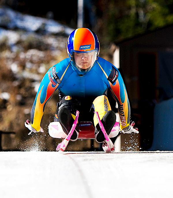 USA women's  luge team member, Julia Clukey from Augusta, Maine.  PHOTO BY TONY BENSHOOF