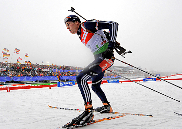 Tim Burke of the U.S. competes during the men's  15 km mass start Biathlon World Cup competition in Oberhof, Germany, on Sunday, Jan. 10, 2010. Burke placed 2nd. AP PHOTO BY JENS MEYER