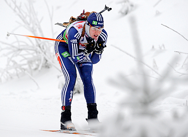 Haley Johnson of the U.S. competes during the women's  7.5 km sprint competition at the Biathlon World Cup in Oberhof, Germany, on Friday, Jan. 8, 2010. Johnson placed 61st. (AP Photo/Jens Meyer)