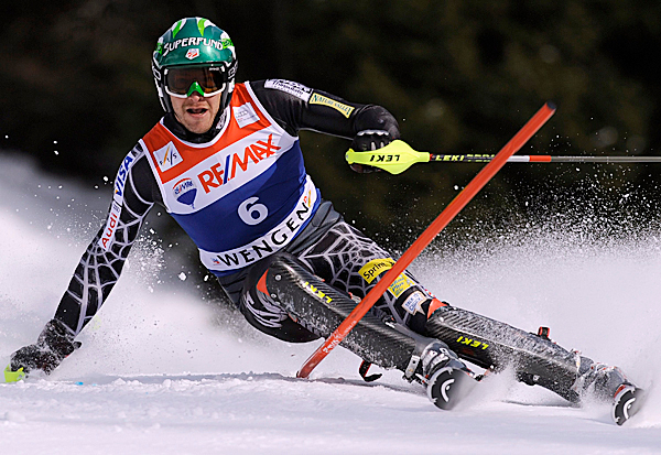 US ski racer Bode Miller clears a gate during the men's ski world cup Super Combined Slalom on the Lauberhorn in Wengen, Switzerland, Friday Jan 15, 2010. (AP Photo/Keystone, Lukas Lehmann)