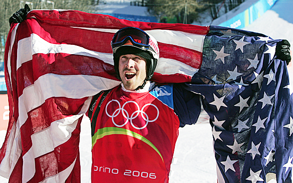 Gold medallist Seth Wescott of the USA reacts after his race in the final of the Snowboard Cross competition at the Turin 2006 Winter Olympic Games in Bardonecchia, Italy Thursday, Feb. 16, 2006. Radoslav Zidek of Slovakia won the silver medal, Paul-Henri Delerue of France bronze.  AP FILE PHOTO