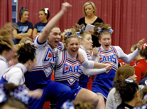 Central Aroostook celebrates after they are announced as the Class D State Cheerleading Competition winners on Saturday at the Augusta Civic Center. BANGOR DAILY NEWS PHOTO BY LINDA COAN O'KRESIK