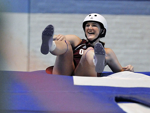 Orono's Shelby Wheeler is all smiles after clearing 10' 2&quot at the UMaine fieldhouse Saturday, Feb. 6, 2010. BANGOR DAILY NEWS PHOTO BY MICHAEL C. YORK