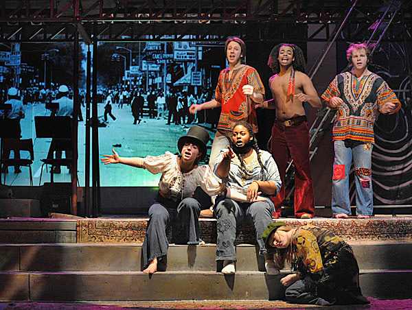 Cast of musical 'Hair' during Claude's halucination Sunday, Feb. 7, 2010. BANGOR DAILY NEWS PHOTO BY MICHAEL C. YORK