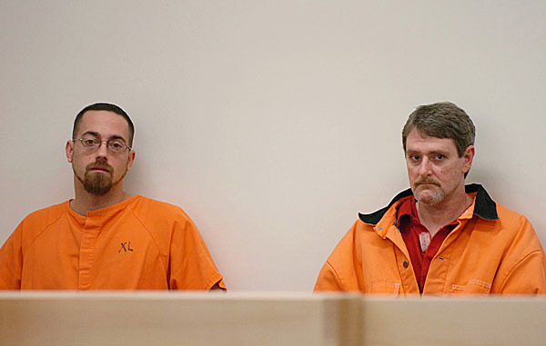 Nathaneal Nightingale, 31, of Burlington (left) and Perley Goodrich Jr., 45, of Newport appear for their arraignments Monday, Feb. 8, 2010 at the Penobscot Judicial Center in Bangor. BANGOR DAILY NEWS PHOTO BY BRIDGET BROWN