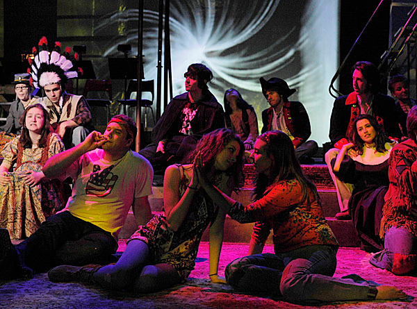 Cast of 'Hair' during a tech rehearsal in Hauck Auditorium Sunday, Feb. 7, 2010. BANGOR DAILY NEWS PHOTO BY MICHAEL C. YORK