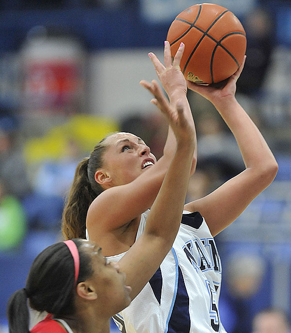 Maine's Katia Bratishko concentrates on the hoop for a short jumper in the second half of their home game versus Hartford, Tues., Feb. 9, 2010.