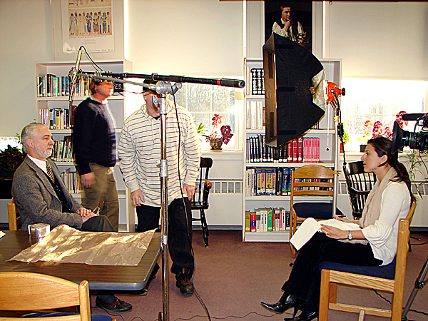 A production team from the national television show ''Insights'' was at Foxcroft Academy Tuesday filming students, parents and teachers for a show to aired by Hugh Downs later this summer. Early in the day, Jay Brennan, associate head of school/admissions and residental life, was interviewed by the show's producer Kelly Alexander, right. (Bangor Daily News Photo by Diana Bowley)