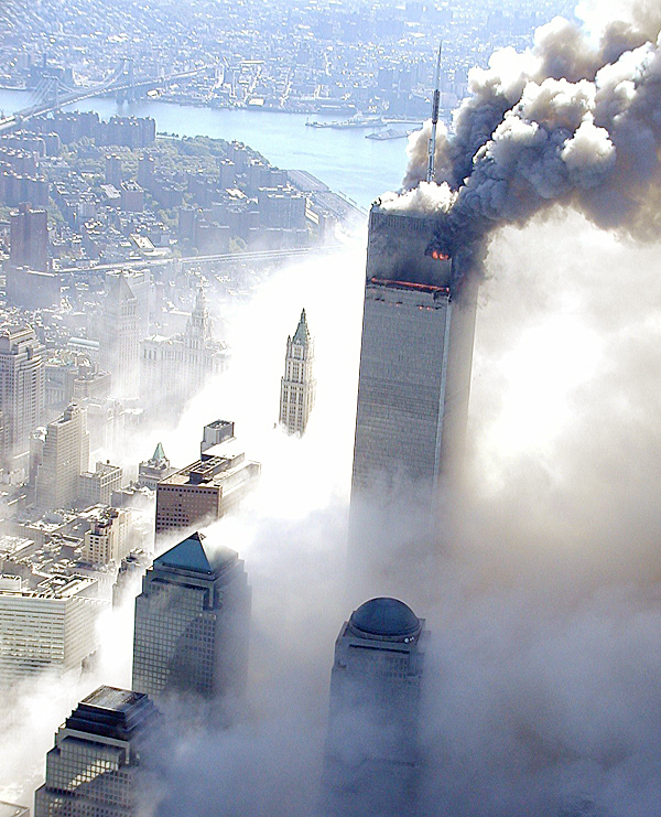 In this Sept. 11, 2001 photo made the the New York City Police Department and provided by ABC News, Tuesday Feb. 9, 2010 the upper floors of the World Trade Center tower  burns after terrorists flew an airliner into it. (AP Photo/NYPD, via ABC News, Det. Greg Semendinger ) MANDATORY CREDIT