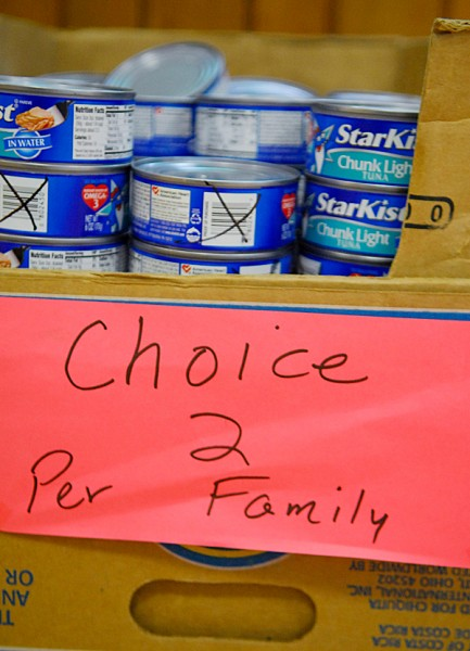 Cans of tuna were among dozens of donated food items and other necessities offered to area families at the Safe Place Community Food Cupboard in Corinth Thursday, November 8, 2007.   BANGOR DAILY NEWS FILE PHOTO BY JOHN CLARKE RUSS