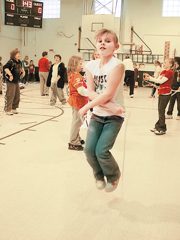 Caroline Vigue, a fourth-grader from Pittsfield, made jump roping tricks look easy Thursday at a Jump Rope for Heart Event at Vickery Elementary School in Pittsfield.