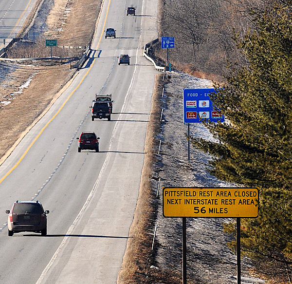 A sign warning motorists on I-95 South-bound in Newport that the Pittsfield Rest Area is closed. It was among the rest areas the state closed as a cost saving measure.   BANGOR DAILY NEWS PHOTO BY GABOR DEGRE