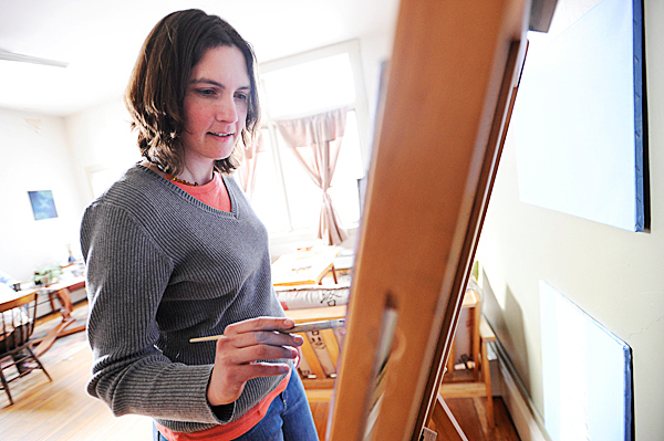 A month after her sentence was suspended, Amber Cummings paints in her Belfast apartment. In December 2008 Amber Cummings killed her husband James G. Cummings at their home in Belfast, was eventually arrested and then received a suspended sentence in January 2010. Photographed in her home in Belfast February 8, 2010.   BANGOR DAILY NEWS PHOTO BY JOHN CLARKE RUSS