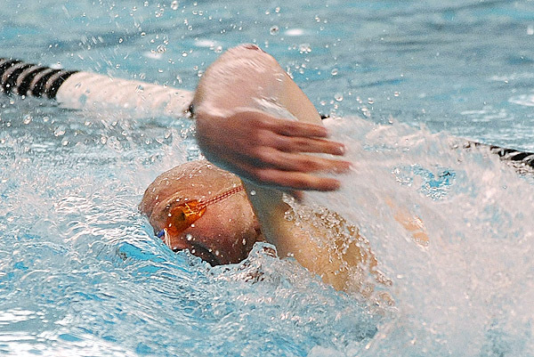 Bangor's Joey Quinn competes in the boys 200 meter freestyle during the Maine High School class A and B  Swiming and Diving Championship at Bowdoin College in Brunswick Monday evening.  Quinn finished second with the time of 1:47:59.bangor Daily News/Gabor degre
