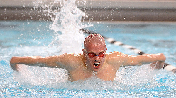 Bangor's Taylor Wicks competes in the boys 200 meter individual medley during the Maine High School class A and B  Swiming and Diving Championship at Bowdoin College in Brunswick Monday evening.  Wicks finished third with the time of 2:03:41.bangor Daily News/Gabor degre