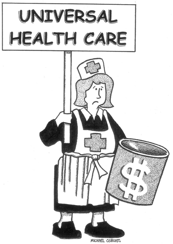 This image by Michael Osbun relates to the cost of universal health care in the United States.