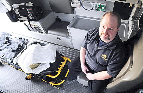 Chuck Stitham, a paramedic with Capital Ambulance, is one of about ten paramedics who work out of the Brewer Fire Department.The ambulance service and the City of Brewer started the partnership ten years ago. BANGOR DAILY NEWS PHOTO BY GABOR DEGRE