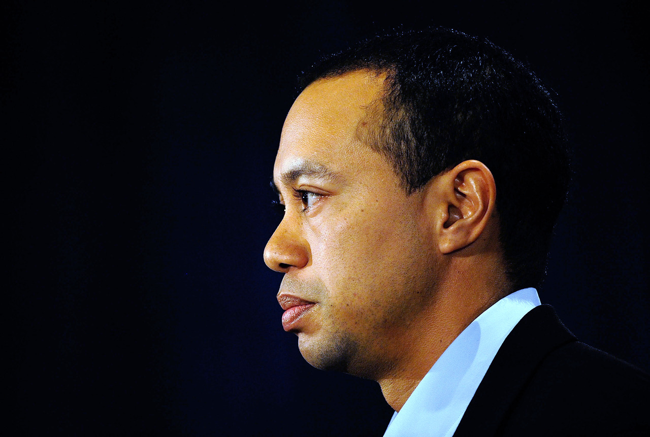 Tiger Woods makes a statement at the Sawgrass Players Club, Friday, Feb. 19, 2010, in Ponte Vedra Beach, Fla. (AP Photo/Sam Greenwood, Pool)