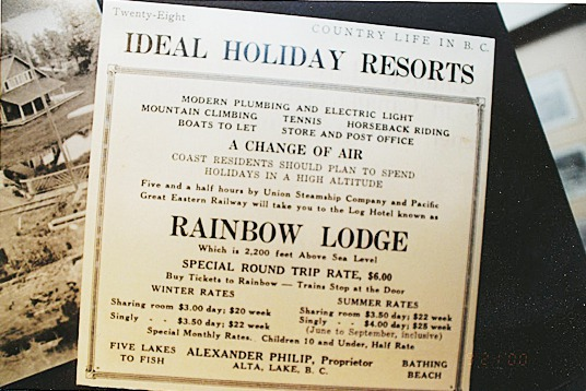 An advertisement touts Rainbow Lodge on Alta Lake near what would become the resort town of Whistler in British Columbia which is hosting the Nordic and alpine events at the 2010 Winter Olympics. The lodge was built by two Maine natives Alex and Myrtle Philip and their relatives and opened for business in 1914.   Photo courtesy of George and Connie Henkel.