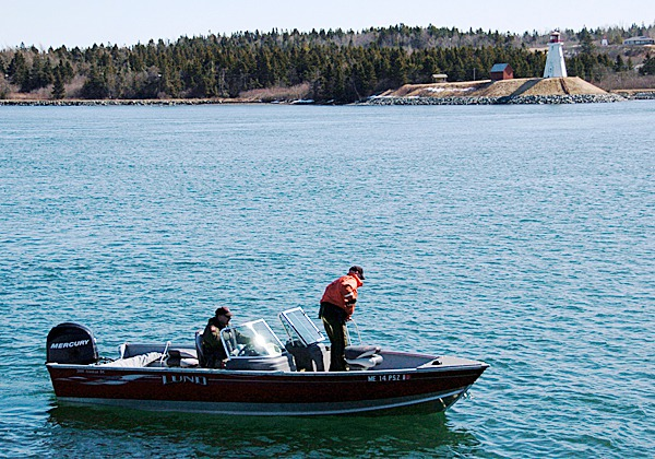 Maine Marine Patrol officers scan the water near Lubec Municipal Marina Thursday morning, searching for Logan Preston, 19, of Roque Bluffs. The body of his shipmate, Loren Lank, was recovered Wednesday night following an accident which broke apart the 34-foot dragger they were operating in Cobscook Bay Wednesday afternoon.   BANGOR DAILY NEWS PHOTO BY JOHN CLARKE RUSS