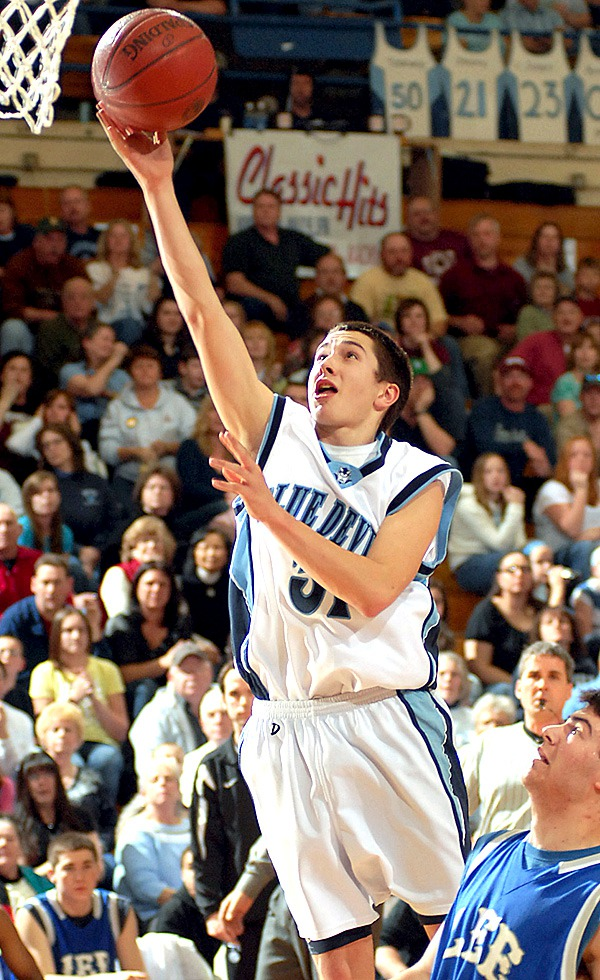 BANGOR, ME -- FEBRUARY 19, 2010 -- Calaises Jeremy Beers puts one up in during first half action of Thursday's Class C semi final game at the Bangor Auditorium.  Calais won the game 57-47.   BANGOR DAILY NEWS PHOTO BY LINDA COAN O'KRESIK