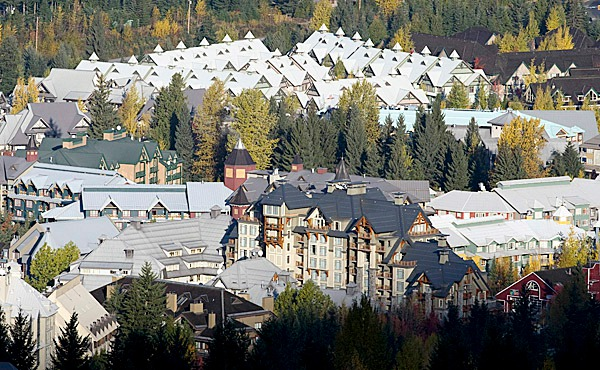 FILE - Whistler village is seen in Whistler, B.C., in this Oct. 23, 2008 file photo. At the height of its Olympic glory, Whistler _ the ski resort hosting glamorous Alpine events at the Winter Games _ may be headed for the auction block. Creditors want their money back, and they're playing hardball _ calling an auction to put Whistler and other property up for sale Friday, Feb. 19, 2010 the same day Bode Miller is scheduled to compete for his second Olympic medal in the men's super-G. (AP Photo/The Canadian Press - Jonathan Hayward, File)