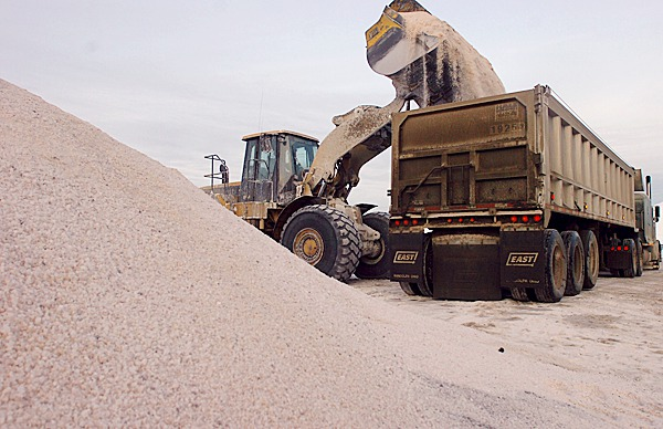 A front-end loader fills up a semitrailer with road salt at the Sprague Energy Terminal in Searsport on Tuesday afternoon. Terminal Manager Duane Seekins said the busiest days are before and after snowstorms when the facility ships out as much as 3,000 tons of salt a day. &quotWe have shipped out about twice as much salt this year than last year,&quot Seekins said. There were about 5,000 tons of salt at the terminal Tuesday and a shipment of 20,000 tons will arive by ship over the weekend from Chile.  BANGOR DAILY NEWS FILE PHOTO BY GABOR DEGRE