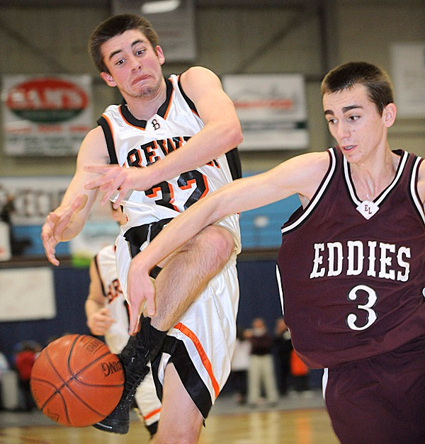 Brewer's Tyler Bessette (left) is fouled by Edward Little's Timothy Mains as he drives for the basket during the first half of the Eastern Maine Championship Game in Augusta Friday.   BANGOR DAILY NEWS PHOTO BYGABOR DEGRE