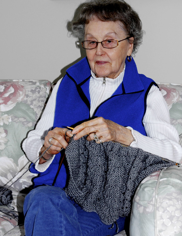 More than 20 hours goes into the creation of every prayer shawl hand knitted by members of a special Fort Kent ministry. The shawls are given to area residents facing cancer or other life altering illnesses. &quotThe gift of your time is the most precious thing you have,&quot Louise Barresi, the groups' organizer, said. (BANGOR DAILY NEWS Photo by Julia Bayly)
